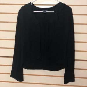 Ann Taylor black silk ruffled neck open front top